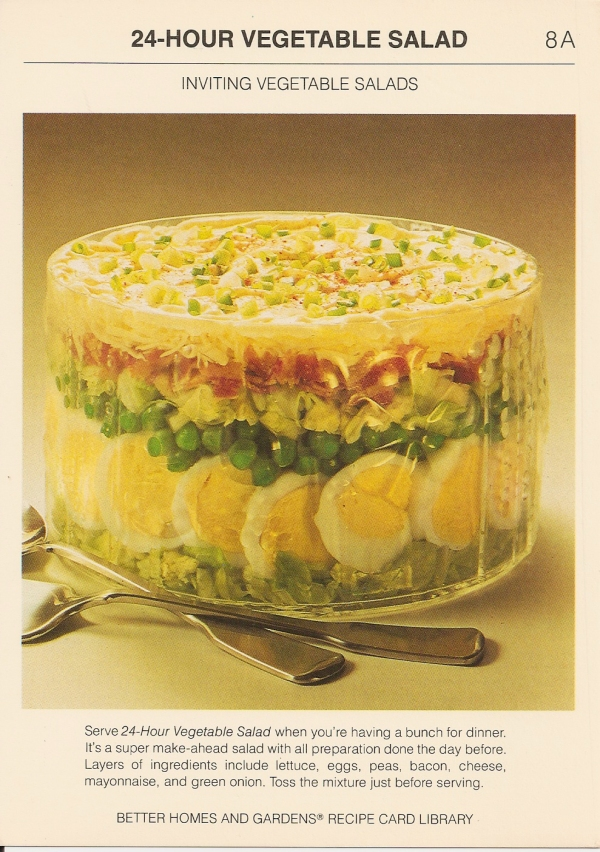 24 hour vegetable salad vintage recipe cards for Better homes and gardens potato salad