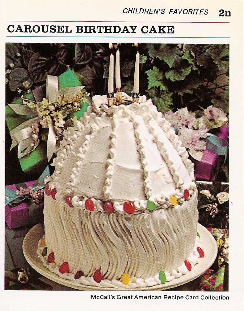 Surprising Carousel Birthday Cake Vintage Recipe Cards Personalised Birthday Cards Akebfashionlily Jamesorg