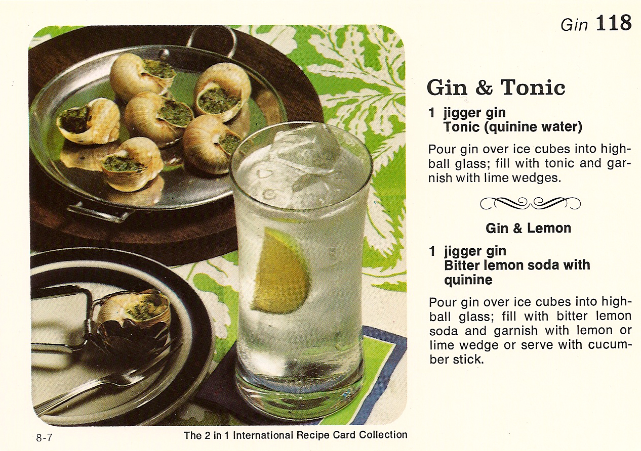 Gin tonic with snails in green garlic butter vintage recipe cards snails forumfinder Image collections