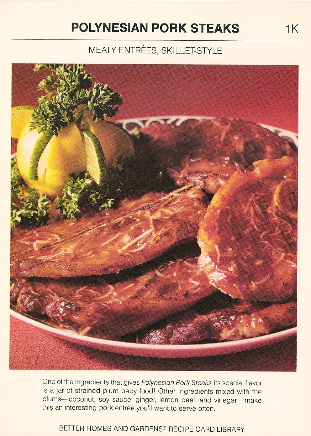Polynesian pork steaks vintage recipe cards 6 pork steaks forumfinder Choice Image