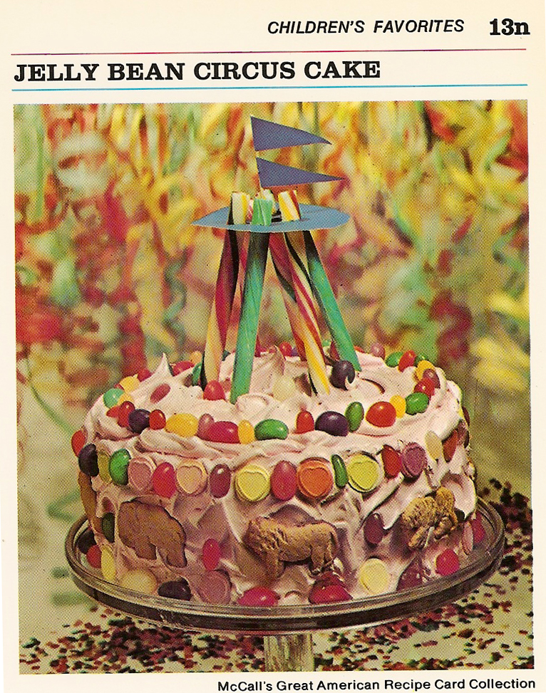 Jelly Bean Circus Cake Vintage Recipe Cards