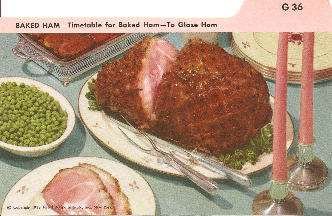 Baked ham vintage recipe cards place an uncooked or cook before eating ham see index card g fat side up on a rack in a shallow baking pan have ham at room temperature forumfinder Gallery