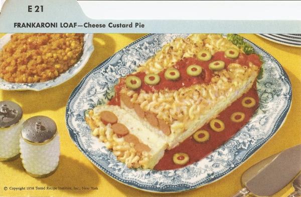 Frankaroni Loaf Amp Cheese Custard Pie Vintage Recipe Cards