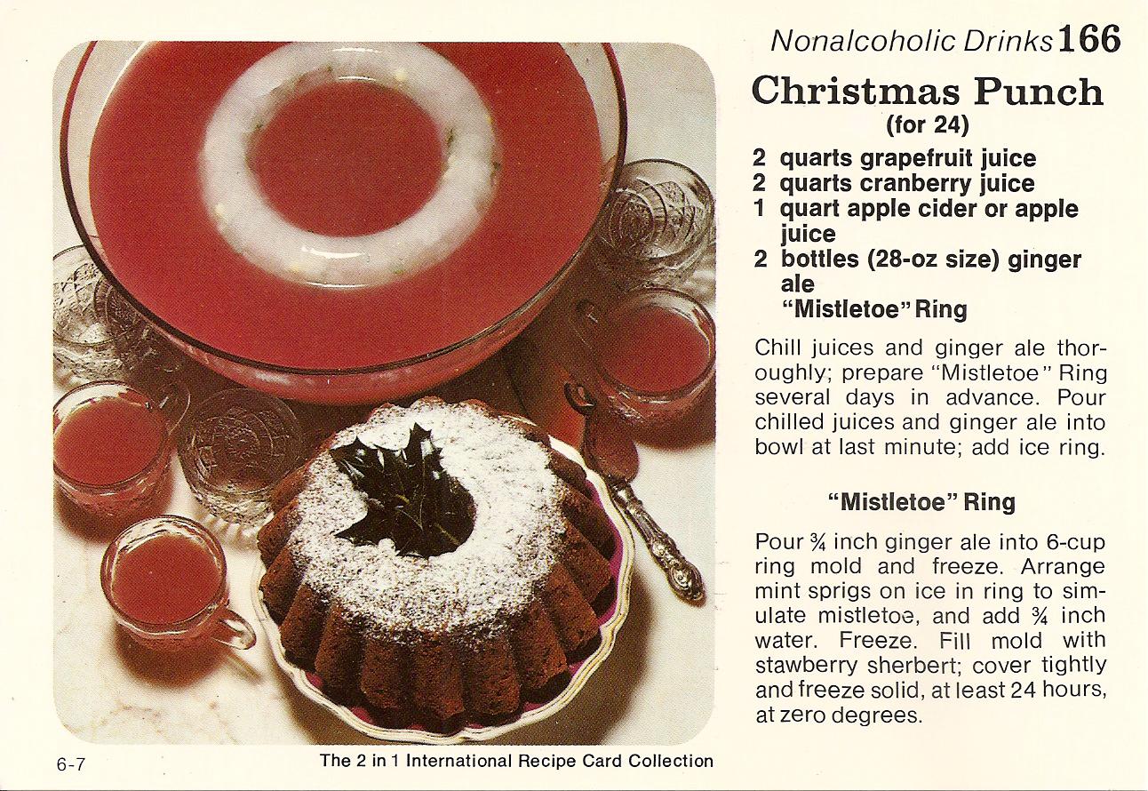Christmas Punch And Christmas Sausage Cake Vintage