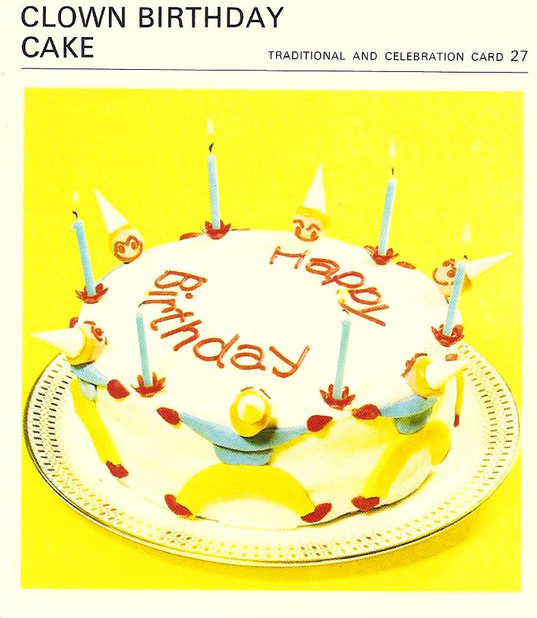 Marvelous Clown Birthday Cake Vintage Recipe Cards Funny Birthday Cards Online Inifodamsfinfo