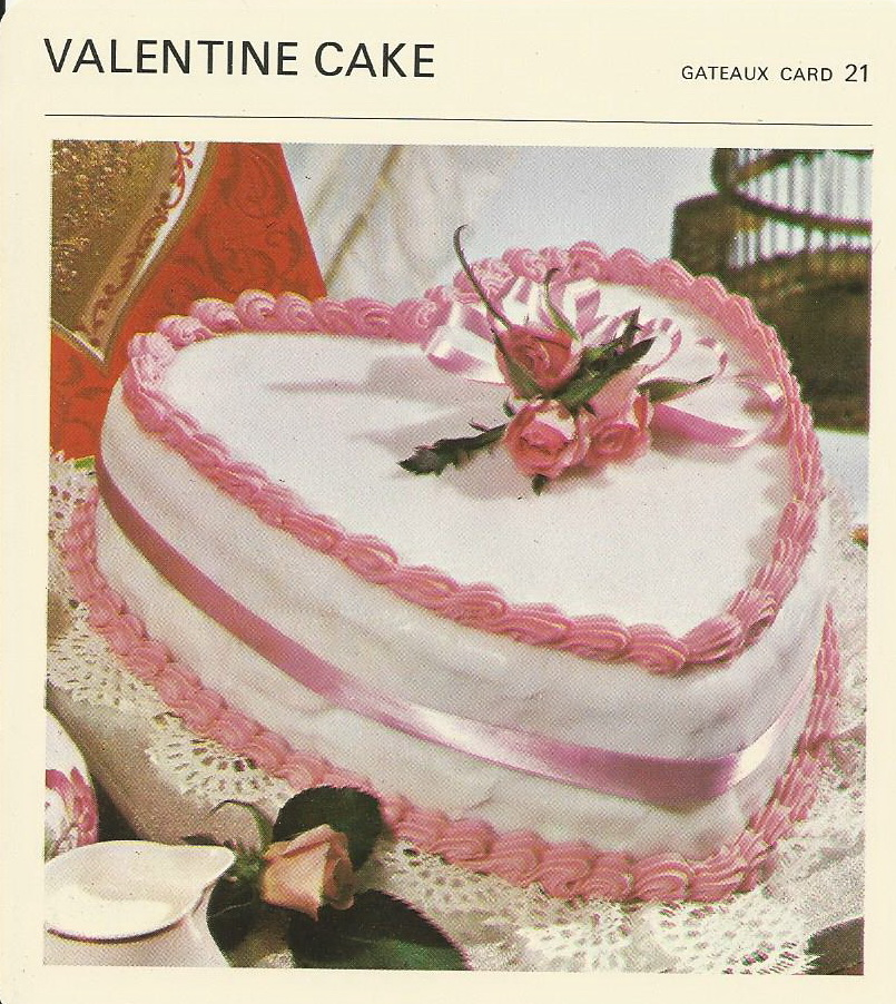 Valentine cake vintage recipe cards for Valentine cake recipes with pictures