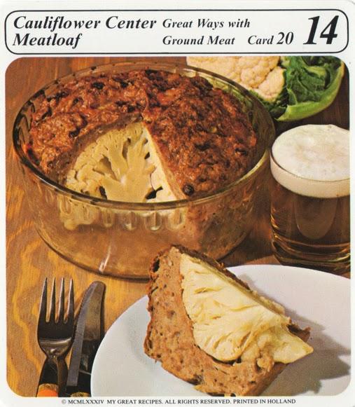 Cauliflower Center Meatloaf Vintage Recipe Cards