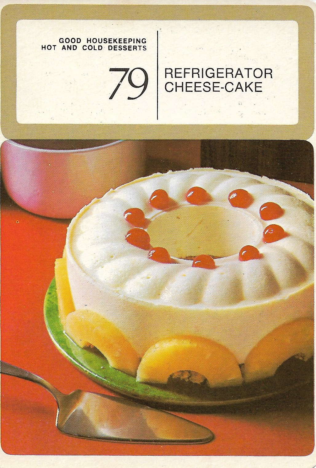 Refrigerator Cheese Cake Vintage Recipe Cards