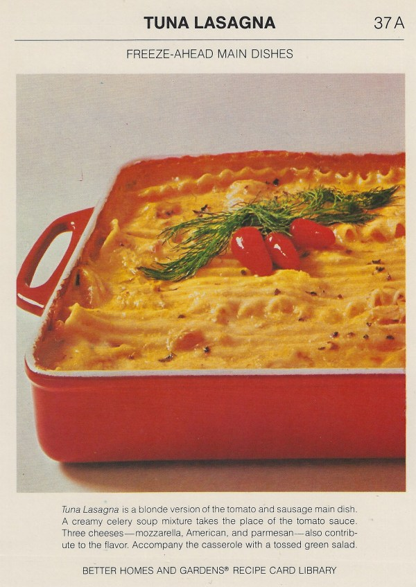 Vintage recipe cards 16 ounces lasagna noodles 1 cup chopped onion 2 cloves garlic minced 14 cup butter or margarine 4 6 12 or 7 ounce cans tuna drained and flaked forumfinder Images